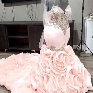 2020 Plus Size Arabic Aso Ebi Pink Luxurious Mermaid Wedding Dresses Crystals Tiers Bridal Dresses Sexy Wedding Gonws ZJ294