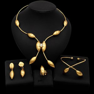 Yulaili Nigerian Wedding Jewelry Sets Bridal Dubai Gold Color Jewelery African Beads Necklace Earrings Bracelet Ring Accessories Wholesale
