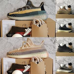 Kutu Boyutu 13 Kanye West ile Yeni Kül Inci Mavi Küllü Koşu Ayakkabıları Zyon Siyah Kırmızı Karbon Doğal Erkek Eğitmenler Bayan Sneakers 36-48