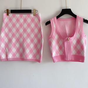 2020 1219 otoño marca el mismo estilo suéteres tripulación cuello de impresión sin mangas sin mangas dos piezas con estampado rosa negro mujer ropa qian