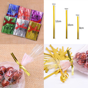 Gold Silver Purple Red Green Blue 8 10 12cm Christmas Metal Cable Ties Candy Lollipop Biscuit Bread Gift Bags Sealing Twist Ties