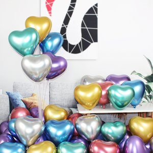 Ballon en latex en forme de coeur 50pcs / sac 10 pouces 2,2g Ballons en latex en métal de mariage anniversaire Valentine Festival de la Saint-Valentin Decoration Ballons DWA2647