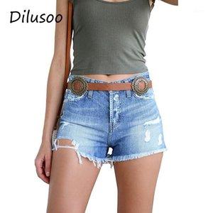 Dilusoo отверстия женщины женские джинсовые шорты кисточки упругие тощие летние джинсы джинсов для дам Европа женский 2019 повседневные штаны1