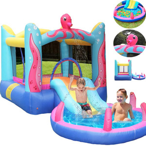Octopus Bounce House with Built-In Water Sprayer Inflatable Bouncer Jumper Water Slide Octopus Themed Indoor Outdoor Bounce House with Pool
