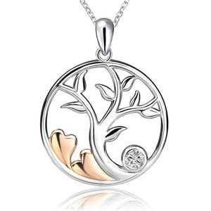 Strollgirl 925 Sterling Silver Round Shape Pendant Tree of Life with Stone Necklace for Women Fashion Jewelry Gifts Free Ship Z1126
