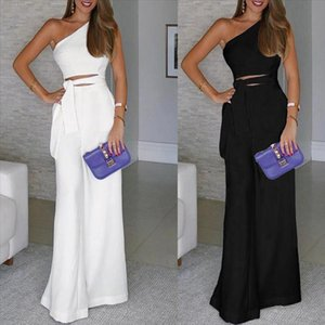 Elegant Women Overalls Solid Sleeveless Bandage Jumpsuit one shoulder Brief Office Ladies Long Wide Leg Trousers Mono Mujer 5s