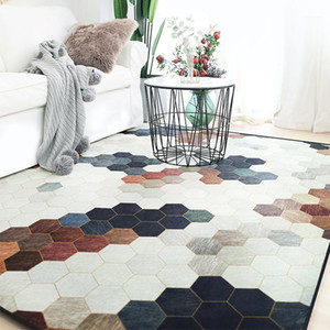 Nordic Tapis Simple Light Geometric Motif Tapis de tapis pour salon Chambre à coucher Chambre Tapis Chaise Anti-Slip Modern1