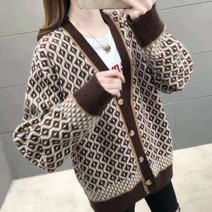 Femmes Casual Pull long Sweater Classic Lattice Lettre Modèle Bouton Cardigan Cardigan Tops Tops automne Winter Womans Vêtements