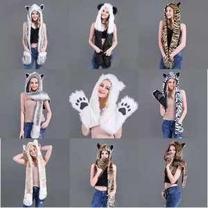 10 Styles Faux Fur Hood Animal Hat Ear Flaps Hand Pockets 3 in1 Animal Hat Wolf Plush Warm Earmuff Cap with Scarf Gloves