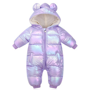 New Plus Velvet Jumpsuits Baby Winter Rompers Cartoon Hooded Shiny Waterproof Newborn Girls Snowsuit Toddler Boys Coat clothes