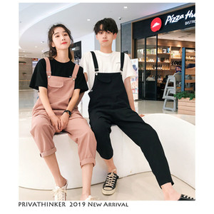 Privathinker Men Woman Sleeveless Overalls 2020 Black Casual Lovers Streetwear Pant Couple Casual Summer Fashion Overall Pants Y1114