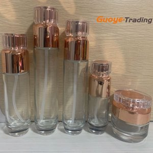 rose gold cosmetic glass bottles toner dispenser pure dew glass bottle lotion cream bottle face cream containers cosmetic spackaging factory