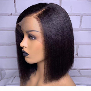 Kinky Straight Bob Wig 13X6 Lace Front Human Hair Wig Short Brazilian Remy Hair Lace Front Wig Pre Plucked For Black Women