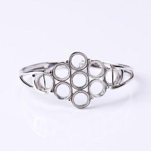925 Silver Sterling Bangle Bracelet 7.8MM Round Cabochon Semi Mount Bangle Fine Jewelry DIY Stone