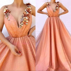 Formal Evening Dresses with Flowers 2020 A Line Spaghetti Strap Beads Pearls Petal Flora Long Pageant Prom Dress