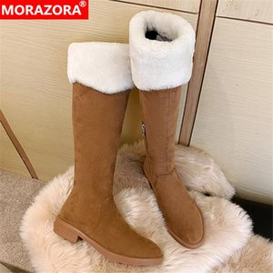 MORAZORA 2021 New Arrival Winter Boots High Quality Keep Warm Knee High Boots Low Heel Round Toe Comfortable Women