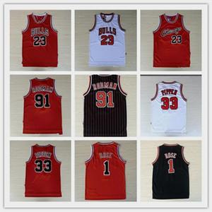 20 Bordado 23 MJ Michael 1 Derrick Rose Transpirable Deporte 33 Scottie Pippen Jersey Barato 91 Dennis Rodman Sportswear Jersey cosido