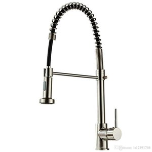 Brushed Finish Nylon Kitchen Sink Faucet Pull Down Sprayer Single Hole Bar Mixer