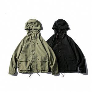 American casual jacket men's multi-pocket workwear jacket loose all-match hoodie jacket top fashion brand men 1D76