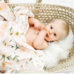 180g 100% Bamboo Fiber Muslin Blanket Print Floral Baby Bedding Bath Towels Blankets Newborn For Babies Swaddle Wrap Receiving B1203 B1203