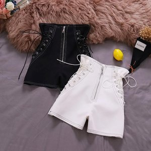 women shorts black white 2020 Spring New wind Chic high waist strap stylish wide-legged pure color casual shorts female 6562