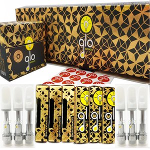 GLO Extracts Vape Cartridges 0.8ml 1ml Ceramic Mouthpiece Carts Empty Vape Pen Cartridge 510 Oil Atomziers Vaporizers Display Packaging