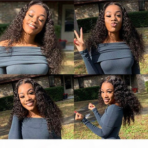 Deep Curly Lace Front Human Hair Wigs Pre Plucked Hairline Brazilian Virgin Hair Full Lace Wig With Baby Hair Natural Color Free Shipping