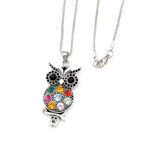 20pcs   lots Retro Colorful Crystal Owl Pendant Necklaces Antique Silver Fashion Jewelry Ms. long sweater chain T-21