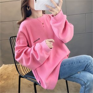 Pink sweater women's 2020 new hattless spring and autumn thin loose Korean online Red ins super hot fashion trend