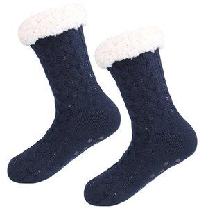 Nouveautés 3D Stripes hiver en vrac Slipper Chaussettes femmes AntiSlipper chaud Toison cheville doublée antidérapants Chunky Noël Chaussettes en cachemire