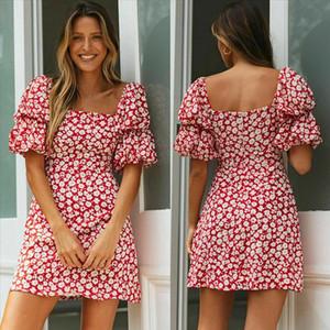 2020 Summer Women Wrap Boho Print Dress Ladies Holiday Beach Short Sleeve Square Neck Mini Dress