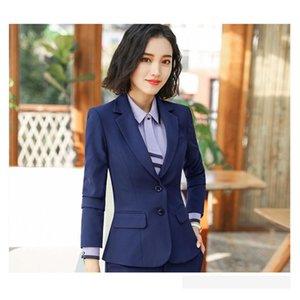Pant Suits For Women Blazer Set Autumn Lady Business Office Work Profession Uniform Turn-Down Neck Jacket Elegant Pants Suits