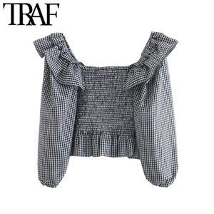 TRAF Women Fashion Elastic Smocked Ruffled Cropped Blouses Vintage Lantern Sleeve Plaid Female Shirts Blusas Chic Tops