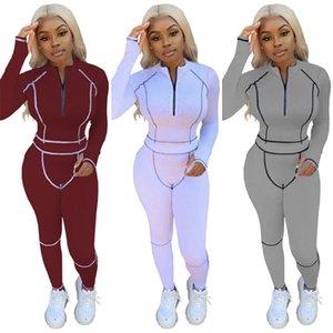 Katı Renk Bayan Tasarımcılar Eşofman Moda Zip Hoodies Kazak + Pantolon Legging Kıyafet Rahat Giyim Setleri Patchwork Spor G12206