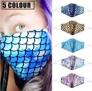 Bling Bling Sequins Color Brick Black White Face Mask Dustproof Protective Masks Washable Reusable Elastic mask