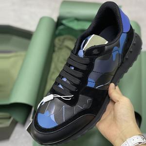Top Quality Hommes RockRunner Camouflage Sneakers de Camouflage Entraîneurs Entraîneurs En Cuir Mesh WTIH Stui Rivet Caoutchouc Boîte cadeau de luxe 264