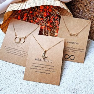 3 Styles Letter Paper Butterfly Pendant Necklace For Women Minimalist Chain Choker Necklaces Gift Card Jewelry