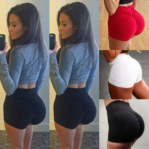 Women Sport Shorts Fitness High Waist Gym Shorts Running Jogging Short Trousers Solid Color Elastic Waist Ladies Bottom