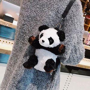 Niedliche Cartoon Plüsch Panda Frauen Kleine 3D Tier Schulter Handtasche Hohe Qualität Geschenk Für Kinder Kinder Puppe Spielzeug Messenger Bag