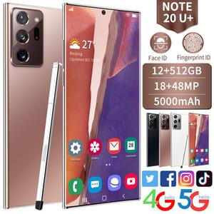 NOTE20U + 스마트 폰 12GB RAM 512GB ROM 48MP CHEALES FACE ID 잠금 해제 Android 휴대폰 WIFI WCDMA 글로벌 4G LTE