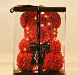 40cm Lovely Bear Of Roses With Led Gift Box Teddy Bear Rose Soap Foam Flower Artificial New Year Gifts For Valentine's Day Gift bbyezpg
