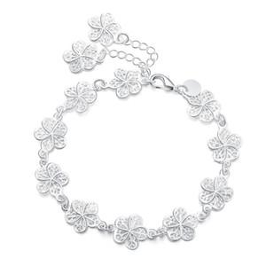 Nueva llegada hermosa pulsera noble cadena de flores moda boda fiesta plata linda dama agradable mujeres pulsera joyería lh013 h jllhgj