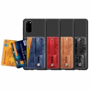 Gripper Storing Strap Leather Case For Iphone 11 Pro Max Galaxy S20 Ultra Plus A51 A71 S10 Lite Card Pocket Phone Grip Finger ID Card Cover