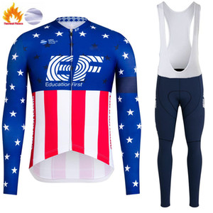 Inverno ciclismo Jersey Set 2021 Pro Team EF Fleece Fleece Abbigliamento da ciclismo Super Caldo Manica lunga Bicycle Uniform Bib Pants Tuta