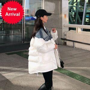 2020 Kore Tasarımcısı Bayanlar Vintage Mont Kadınlar Rahat Boy Sıcak Kış Aşağı Ceketler Yastıklı Gevşek Denim Parka Jean Ekleme