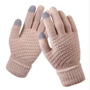 Пять пальцев Перчатки Laamei Женские вязаные FAUX Кашемире вязаные зимние Главяные Главянные Глава Осень Теплый толстый сенсорный экран лыжи