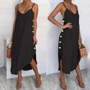 Womens Summer Sundress Sexy Spaghetti Straps Beach Dress 2020 Casual Loose Buttons Asymmetrical Plus Size Vestidos Robe
