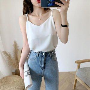 Sexy V-Neck Tank Crop Tops Women Solid Shirt Underwear Fashion Female External Wear White Adjustable shoulder strap Camisole Top
