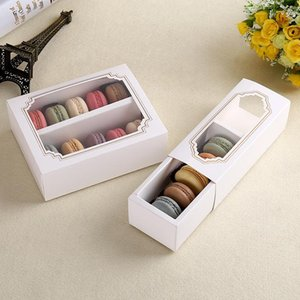 Free shipping 50pcs open the window with transparent film box, Macarons party box, gift packing box of white cardboard