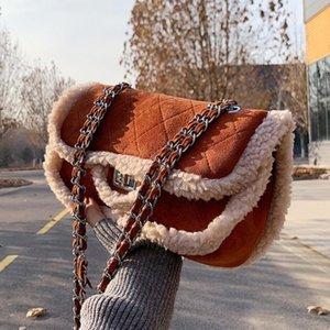 Gitter Square Plüsch Crossbody Bag 2021 Neue hochwertige Matte PU-Leder Damen Designer Handtasche Kette Schulter Messenger Bag